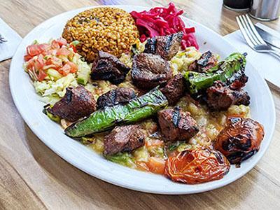 Babagannoush kebab platter