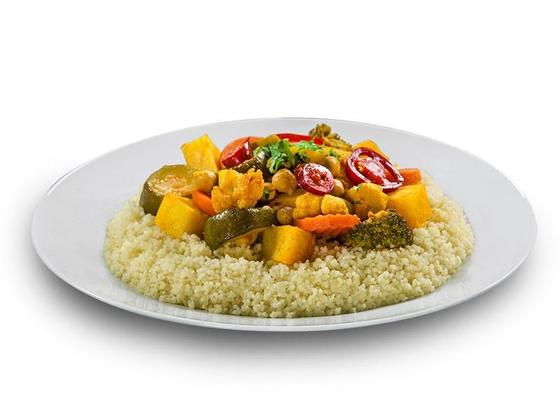 D)-- 2 platters of vegetable couscous