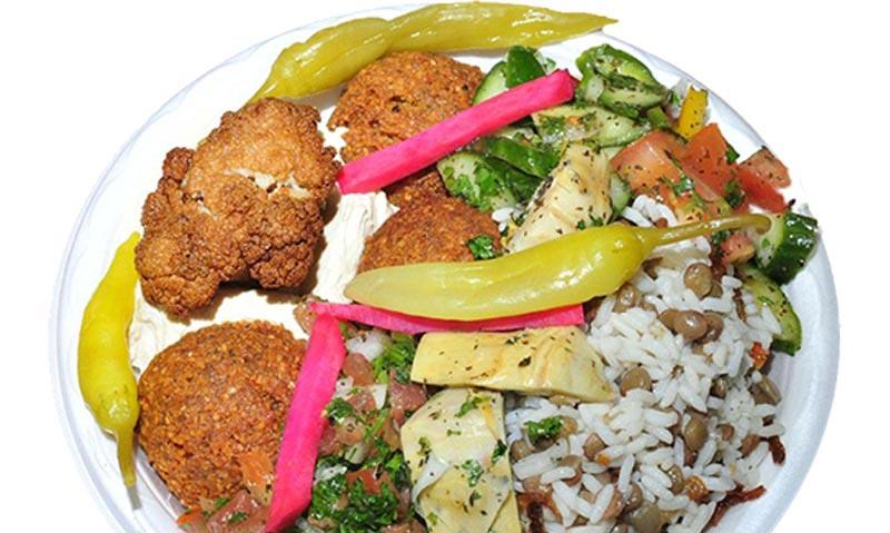 F)-- 2 platters of vegetarian (each plate has 5 options)