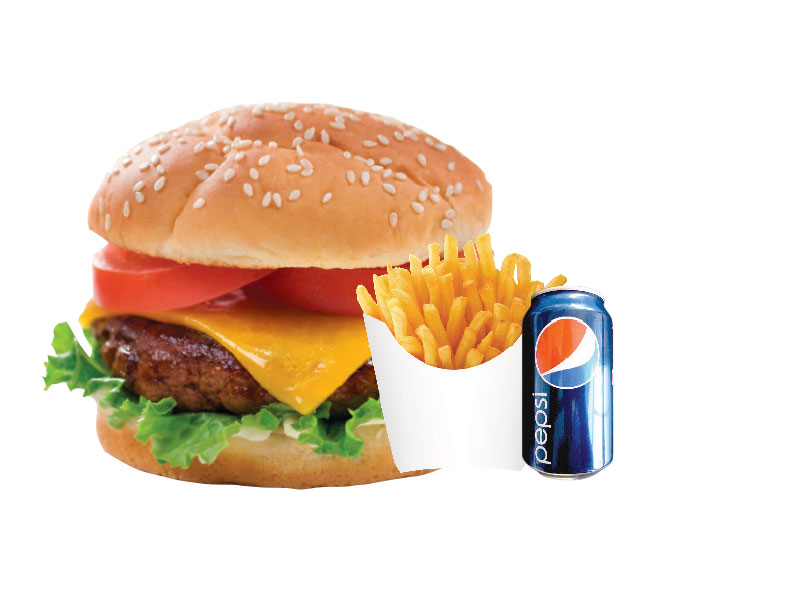 Cheeseburger + 1 Soft Drink