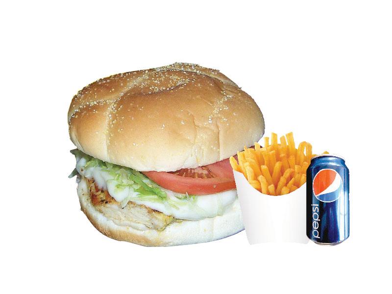 Burger au poulet + 1 Boisson Gazeuse