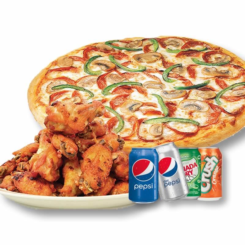 #5)  Petite Pizza + 8 ailes de poulet + 1 Boisson Gazeuse