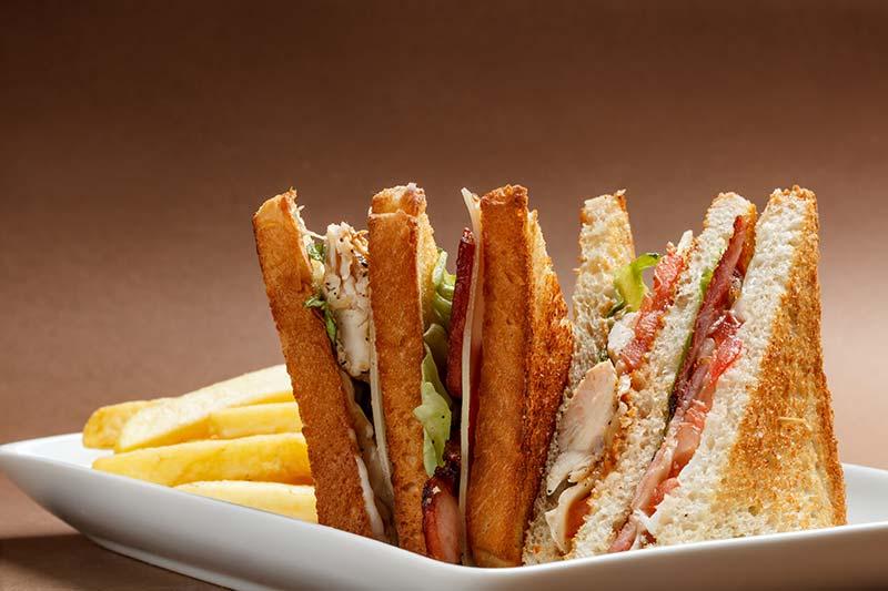 Sliced chicken sandwich