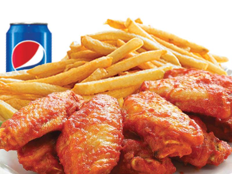 6 Ailes de poulet avec petite frite + 1 boisson gazeuse 355ml